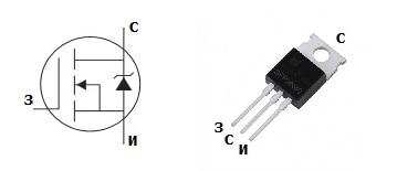 Цоколевка транзистора IRFZ44